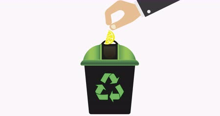 fedél : Recycling bin with green lid for waste products. Recycling symbol. Zero waste. 4K video
