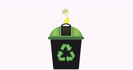 apple sign : Recycling bin with green lid for waste products. Recycling symbol. Zero waste. 4K video