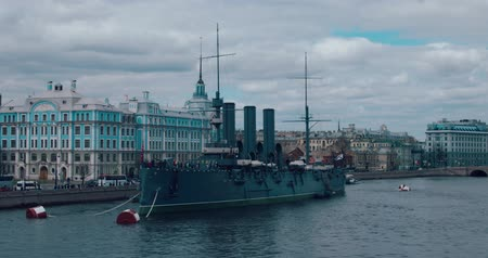 water cannon : ST.PETERSBURG, RUSSIA - June 29, 2017: The legendary revolutionary ship-museum Cruiser Aurora at Neva river in Saint-Petersburg, Russia.