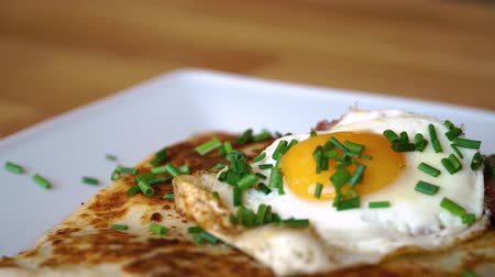 crepa : delicious breakfast pancakes with spinach and egg
