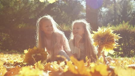 оставлять : Cheerful twin sisters laughing and collecting yellow leaves while sitting on ground and having fun in autumn park