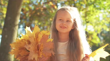 urlop : Little girl collecting yellow leaves while sitting crossed legged on ground in autumn park Wideo