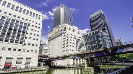 docklands : Timelapse view of office buildings in the docklands financial centre in London