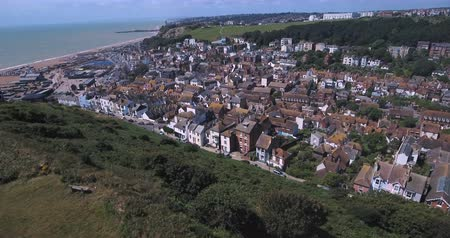 stare miasto : Aerial birds  eye view of the town of Hastings in England and the coastline