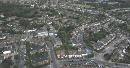 kasaba : Aerial descending view of a typical Edwardian Victorian village in North London