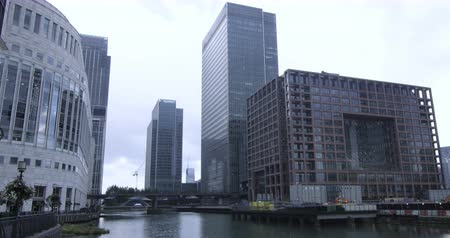docklands : Time lapse view of the financial district of the Docklands in London
