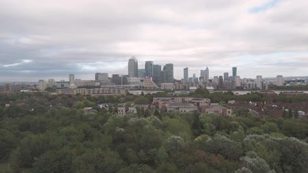 docklands : Aerial push in view of the financial district of the Docklands in London Stock Footage