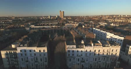 portobello road : Aerial panning view of the district of Notting Hill in London Stock Footage
