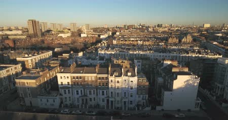 portobello road : Aerial sliding view of the district of Notting Hill in London Stock Footage