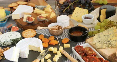 morele : Dolly view of an assortment of French and British cheese