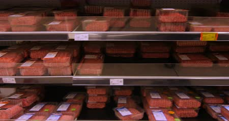 raf : Grocery shopping in the meat department of a big supermarket Stok Video