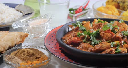 tandoori : Dolly view of a delicious chicken tikka masala with Indian spices Stock Footage