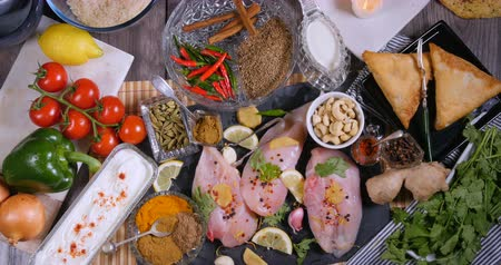 tandoori : Top down zoom out view of ingredients and indian spices for chicken tikka masala