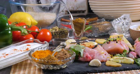tandoori : Dolly view of ingredients and indian spices for chicken tikka masala