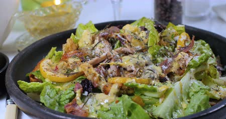 caesar : Dolly view of a delicious Caesars salad Stock Footage