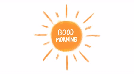 frase : Hand drawn animation of sun and phrase good morning