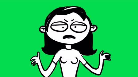 menstruáció : Hand drawn animation of angry woman character