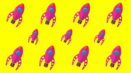 Animated background with space rockets 動画素材