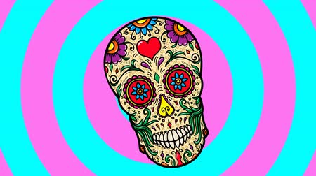 Animated background with mexican sugar skull. Day of the dead party 動画素材