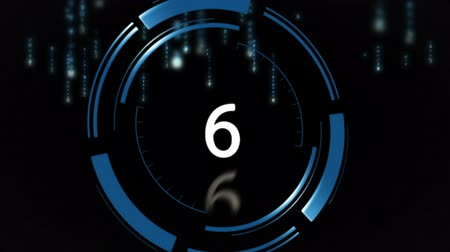 цифра : Digitally generated 10 to 0 countdown against black background