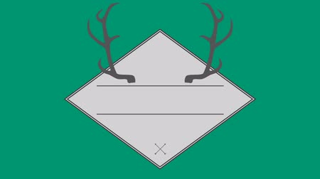 agancs : Vector of antler in square against green background Stock mozgókép