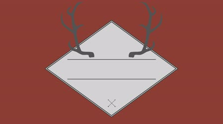 paralelo : Vector of antler in square against brown background Vídeos