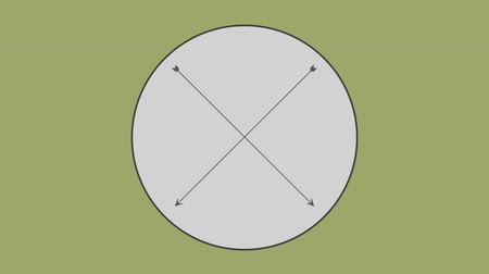 nyíl : Cross arrow in circle against olive green background