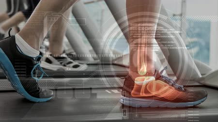 složený : Digital composite video of man exercising on treadmill against interface screen 4k