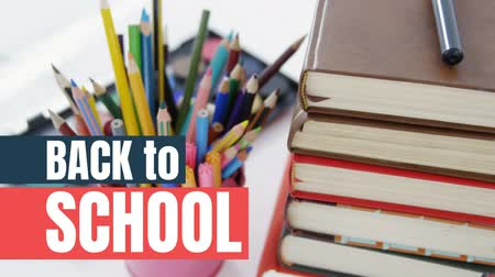 lápis : Digital generated video of back to school concept 4k Stock Footage