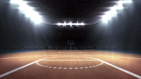 floodlight : Digitally generated video of basketball stadium with spectator 4k Stock Footage