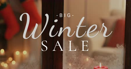 engedmény : Close-up of Big Winter Sale against Christmas decoration 4K 4k