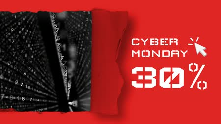 numerical code : Digitally generated video of Cyber Monday text with matrix concept 4k