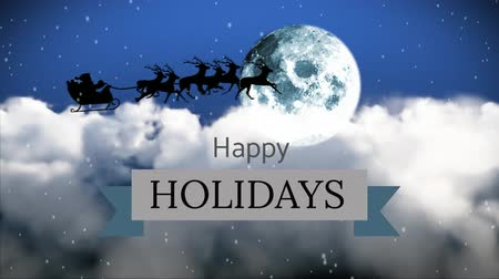 klauzule : Digitally generated of reindeers pulling sledge and globe against Happy Holiday sign 4k
