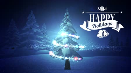 текст : Digitally generated of Happy holiday sign and decorated Christmas tree during winter 4k