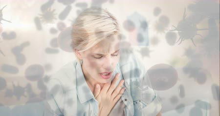 immune : Digital composite video of woman with chest pain and bacterial cell 4k