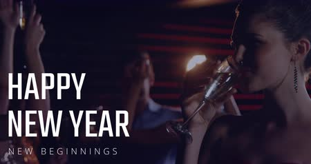 champagne flute : Happy woman having champagne, people dancing on New Year Eve 4k Stock Footage