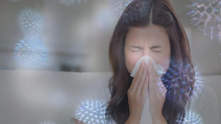 immune : Digital composite video of woman sneezing while suffering from allergy and bacterial cell 4k Stock Footage