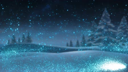 christmas tree with lights : Winter forest animation with copy space Stock Footage
