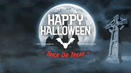 bat : Scary bat animation for halloween in graveyard with message Stock Footage