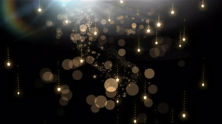 sheen : Digital composite of Sparkling falling magical Christmas stars Stock Footage