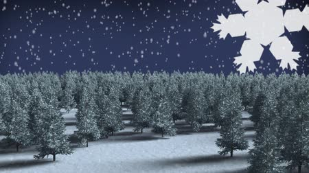zaproszenie ślubne : Digital composite of Winter forest with Christmas snowflakes falling