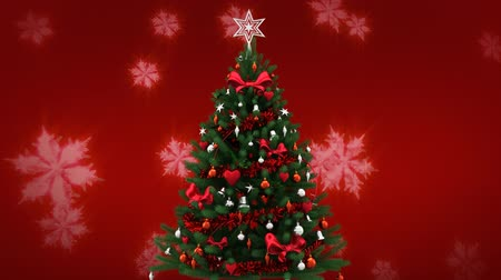rocznica : Digital composite of Christmas tree and snowflakes falling Wideo