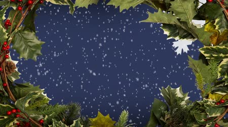 обрамление : Digital composite of Christmas holly border and snowflakes
