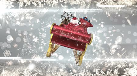 sob : Digital composite of Santa in sleigh with reindeer with snowflakes Dostupné videozáznamy