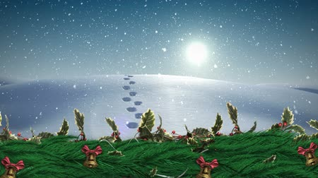 pegada : Digital composite of Christmas Holly wreath with bells and Winter landscape snowing