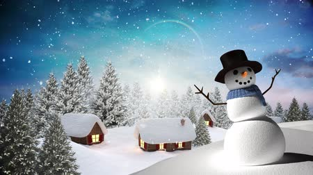 sněhulák : Digital composite of Snowman with Winter landscape