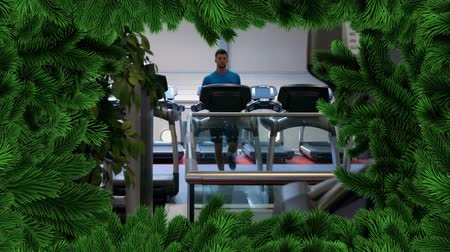 white out : Digital composite of Christmas tree border with gym
