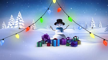 sněhulák : Digital composite of Snowman with Christmas lights and gifts