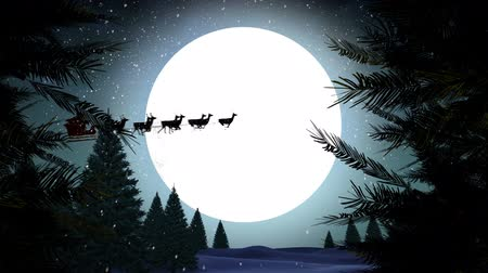 nevando : Digital composite of Santa in sleigh with reindeer flying over moon with trees