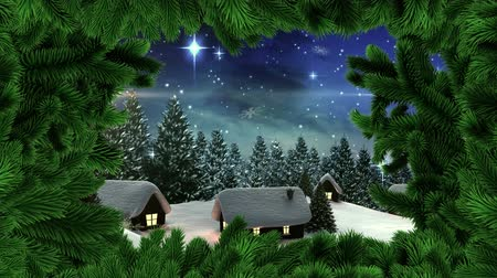 рождество : Digital composite of Christmas tree border with Winter snow village Стоковые видеозаписи